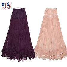 US Women Double Layer Chiffon Pleated Retro Long Maxi Dress Elastic Waist Skirt