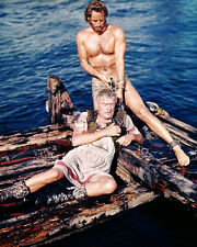 Jack Hawkins Charlton Heston Barechested Hunky on Raft Ben-hur Poster or Photo