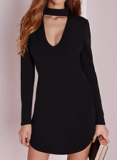 MISSGUIDED crepe choker curve hem cut out bodycon dress black (M25/20)