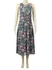 New Ex Per Una M&S Grey Pink White Floral Chiffon Gathered Front Dress 8-16