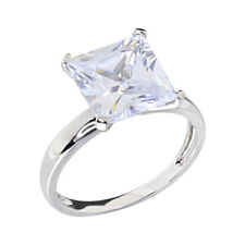 14k White Gold Plated Women Wedding Band Princess CZ Bridal Engagement Solitaire