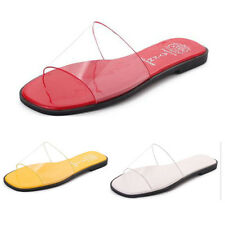 Womens Summer Flat Transparent Slide Sandals Beach Casual Slippers Shoes Size