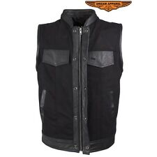 Mens Black Denim Motorcycle Vest With Leather Trims And Without Leather Trim