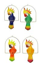 "Garden Patio Decor, Hanging Ceramic Bird, Multi-Color Cockatoo w/Perch-19"" tall"