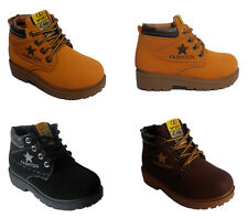 Girls Boys Shoes Kids Walking Outdoor Low Heel Lace Up Textile Ankle Boots Size