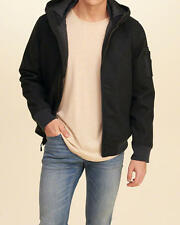 Abercrombie & Fitch – Hollister Mens Jacket Bomber Wool Hooded XL Black NWT
