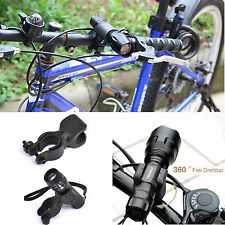 LED Cycling Bike Bicycle Head Light Flashlight Torch 360 Mount Holder Clip Clamp