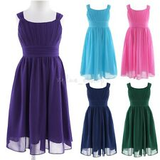 Girl Kids Dress Flower Chiffon Wedding Pageant Birthday Party Formal Bridesmaid