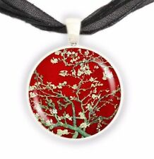"""Almond Tree Branches w/ Flowers in Red Van Gogh Painting Art 1"""" Pendant Necklace"""