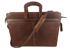 LEATHER BRIEFCASE & MESSENGER SHOULDER BAG Chrome Tanned Cowhide 3 COLORS