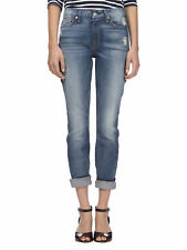 7 For All Mankind Women's High Waist Skinny w/ Squiggle Jean AU035344A Dist Blue