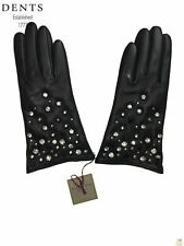 Dents Ladies Leather Gloves Cashmere Wool Lined Winter Womens 7-9063 Studded New