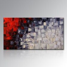 Hand Painted Red and White Abstract Canvas Wall Art Modern Oil Painting Framed
