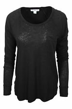 James Perse Black Scoop Neck Linen Cotton Blend Knit Top Long Sleeve Women $135