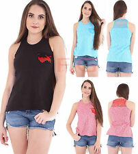 Ladies Stretch Bodycon Womens Lace Trim Ribbed Racer Back Muscle Rib Vest Top