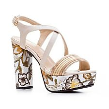 Sparkly One Strap Floral Embroidery Heels Platforms Womens Sandals Summer Shoes
