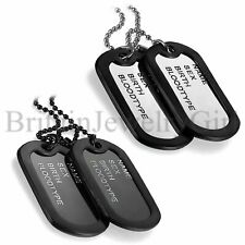 Mens 2 Military Army Style Dog Tags Pendant w Silencers Ball Chain Necklace