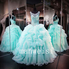 New Blue Bead Quinceanera Dress Ball Wedding Gowns  Prom Party  Formal Custom