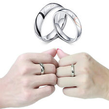Women Men Love Heart Promise Band Ring for Lover Couple Wedding Jewelry Nimble