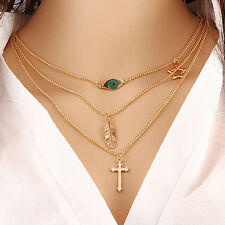 Multilayer Chain Choker Necklace Triangle Arrow Beads Eiffel Tower Jewelry Nimbl