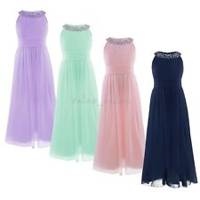 Sequins Chiffon Flower Girl Dress Pageant Wedding Bridesmaid Party Princess GOWN