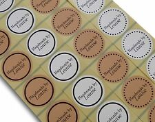 45MM CUSTOM ROUND PERSONALISED BROWN KRAFT WHITE HANDMADE BY LABELS STICKERS