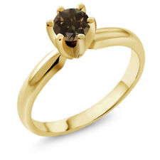 0.46 Ct Round Brown Smoky Quartz 18K Yellow Gold Plated Silver Ring