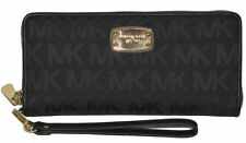 NWT Michael Kors Jet Set Zip Around Continental Wallet - Black Signature - $148