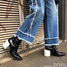 Womens Patent Leather Ankle Boots Chunky Heel Runway Square Toe Shoes Zipper V76