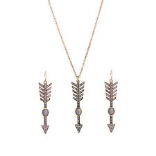 Vintage Crystal Stone Long Arrow Pendant Necklace with Earrings Sets Jewelry