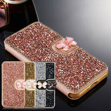 Bling Crystal Diamond Butterfly Flip Card Wallet Cover Case For iPhone/Samsung