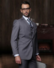 MENS 3 PC 2 BUTTON Charcoal 150S WOOL BUSINESS EVENING SUIT Fashion Fit Pleated