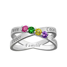 Family Names Ring, Personalized Engraved & Birthstones XO Ring, Silver Mom Band