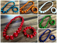 Chunky Solid Wooden Beaded Necklace and Bracelet Set
