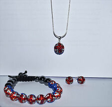 DISCO BALL SHAMBALLA CRYSTAL PAVE CLAY SET, EARRINGS, BRACELET, NECKLACE