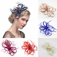 Lady Girl Derby Church Feather Floral Fascinator Cocktail Party Headband Clip