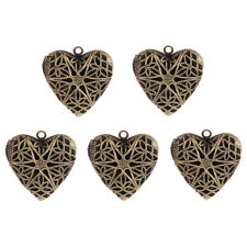 5pcs Women Picture Locket Hollow Heart Photo Pendant Necklace Findings Openable