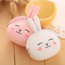 Cute Cartoon Rabbit Pattern Silicone Wallet Change Coin Purse Earphone Container