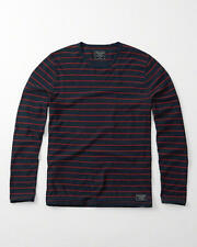 Abercrombie & Fitch Mens T-Shirt Long Sleeve Striped Crew Tee M Navy Stripe NWT