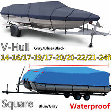 NEW BOAT COVER 16' 17' 22' 24' FT V-HULL BASS RUNABOUT BOAT GRAY STORAGE COVERS
