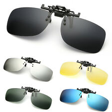 Polarized Clip On Flip Up Sunglasses Mirrored Clip for Myopia Glasses Driving