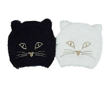 New Ex River Island Fluffy Cat Face Beanie Hat in Black or Cream Age 3-7 Years