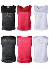 Bridal Tank Top Satin T-shirt Rhinestone Brides Pyjamas Wedding Hen Party Vest