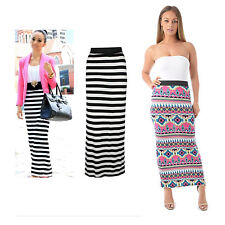 Womens Ladies Aztec Striped Print Elasticated Waist Full Length Gypsy Maxi Skirt
