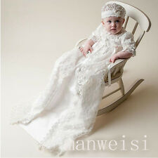 High Quality New Baby First Communion Dress Baptism Christening Gown With Bonnet