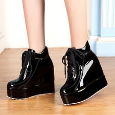Glitter Chunky Women High Platform Wedge Heels Lace Up Punk Ladies Ankle Shoes