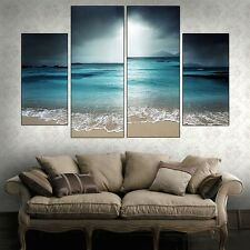 4PCS Modern Room Decor Seascape Painting Canvas Art Print Beach Picture Unframed