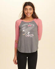 Abercrombie & Fitch – Hollister Womens T-Shirt Vintage Raglan XS S M Grey NWT