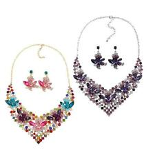 Fashion Colorful Brilliant Women Crystal Flowers Necklace Earrings Jewelry Set