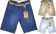 Mens Tokyo Laundry Chino Shorts Belt Button Fly Pockets Blue Beige S M L XL